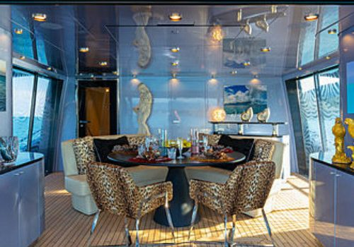 Let's have a peek inside Roberto Cavalli's 28m yacht Freedom Roberto Cavalli Let's have a peek inside Roberto Cavalli's 28m yacht Freedom FEATURE 8 500x350