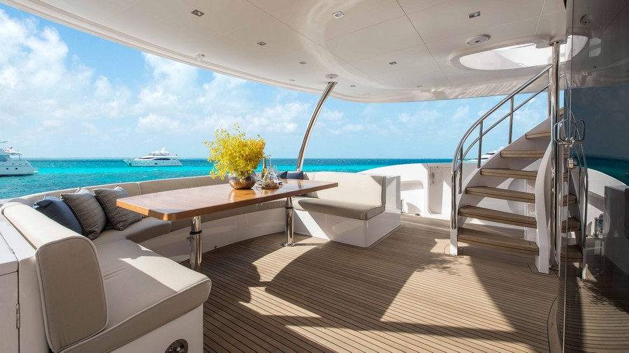 yacht interiors Have a look at 50 of the greatest yacht interiors – Part 2 horizon rp110 aft deck