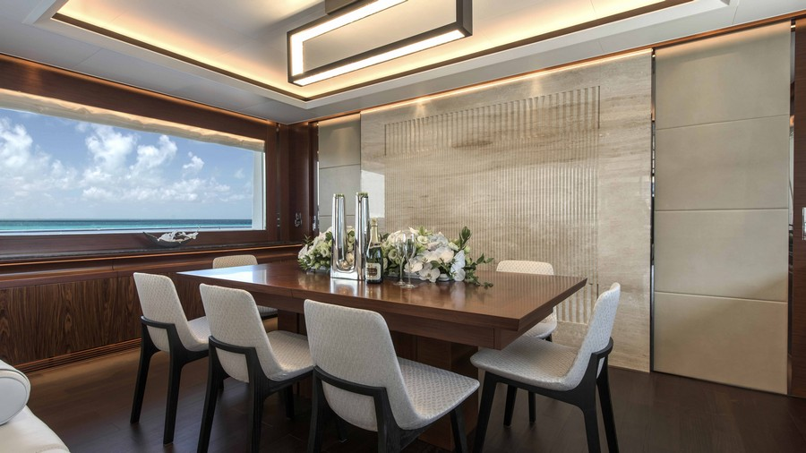 yacht interiors Have a look at 50 of the greatest yacht interiors – Part 2 horizon rp110 formal dining
